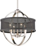 Golden Lighting 3167-4P-PW-BLK Colson Modern Pewter Mini Hanging Chandelier