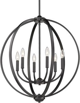 Golden Lighting 3167-6-BLK Colson Contemporary Matte Black Chandelier Light