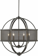 Golden Lighting 3167-6-EB-EB Colson EB Modern Etruscan Bronze Hanging Chandelier (with shade)