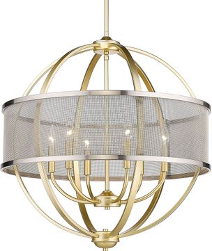 Golden Lighting 3167-6-OG-PW Colson Contemporary Olympic Gold Ceiling Chandelier