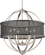 Golden Lighting 3167-6-PW-BLK Colson Contemporary Pewter Hanging Chandelier