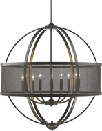 Golden Lighting 3167-9-EB-EB Colson EB Modern Etruscan Bronze Chandelier Lamp (with shade)