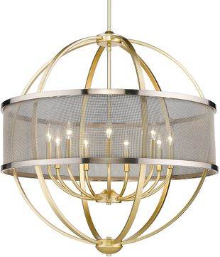 Golden Lighting 3167-9-OG-PW Colson Modern Olympic Gold Ceiling Chandelier