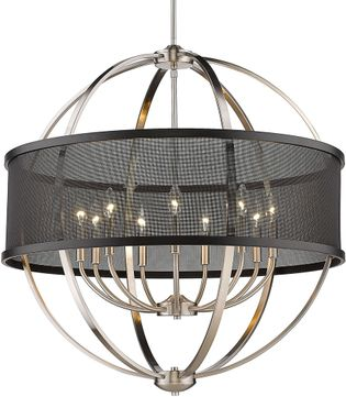 Golden Lighting 3167-9-PW-BLK Colson Modern Pewter Hanging Chandelier