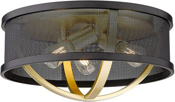 Golden Lighting 3167-FM15-OG-BLK Colson Contemporary Olympic Gold Ceiling Light Fixture