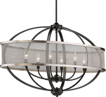 Golden Lighting 3167-LP-BLK-PW Colson Modern Matte Black Kitchen Island Light Fixture