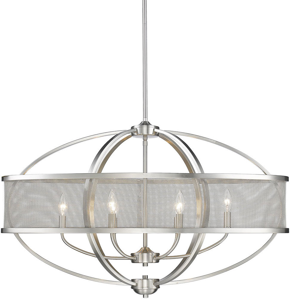 Golden Lighting 3167 Lp Pw Pw Colson Pw Modern Pewter Kitchen Island Light Fixture With Shade