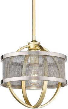 Golden Lighting 3167-M1L-OG-PW Colson Contemporary Olympic Gold Mini Drop Ceiling Light Fixture