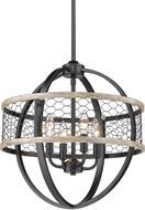 Golden Lighting 3170-4P-BLK-CW Roost Modern Matte Black Mini Chandelier Light