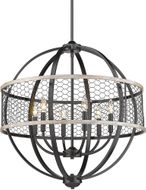 Golden Lighting 3170-6-BLK-CW Roost Modern Matte Black Pendant Lighting