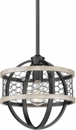 Golden Lighting 3170-M1L-BLK-CW Roost Contemporary Matte Black Mini Pendant Light