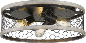 Golden Lighting 3171-FM15-BLK-CW Bailey Matte Black Flush Mount Ceiling Light Fixture