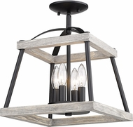 Golden Lighting 3184-SF-NB-GH Teagan Natural Black Ceiling Light