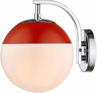 Golden Lighting 3218-1W-CH-RED Dixon Contemporary Chrome Wall Lighting Sconce