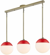 Golden Lighting 3218-3LP-AB-RED Dixon Contemporary Aged Brass / Red Multi Hanging Pendant Light