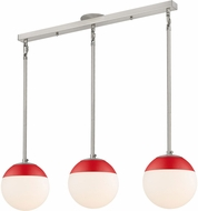Golden Lighting 3218-3LP-PW-RED Dixon Contemporary Pewter / Red Multi Hanging Light