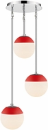 Golden Lighting 3218-3P-CH-RED Dixon Contemporary Chrome / Red Multi Pendant Light