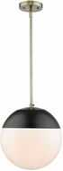 Golden Lighting 3218-L-AB-BLK Dixon Modern Aged Brass Pendant Hanging Light