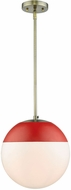 Golden Lighting 3218-L-AB-RED Dixon Contemporary Aged Brass Hanging Light Fixture