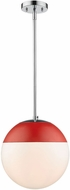 Golden Lighting 3218-L-CH-RED Dixon Contemporary Chrome Ceiling Pendant Light