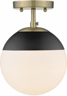 Golden Lighting 3218-SF-AB-BLK Dixon Contemporary Aged Brass / Black Overhead Light Fixture