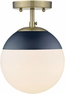 Golden Lighting 3218-SF-AB-MNVY Dixon Modern Aged Brass / Navy Overhead Lighting Fixture