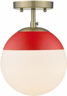 Golden Lighting 3218-SF-AB-RED Dixon Contemporary Aged Brass / Red Ceiling Lighting