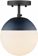 Golden Lighting 3218-SF-BLK-MNVY Dixon Modern Matte Black / Navy Ceiling Lighting Fixture