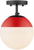 Golden Lighting 3218-SF-BLK-RED Dixon Contemporary Matte Black / Red Ceiling Light Fixture