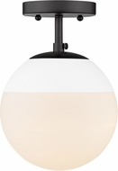 Golden Lighting 3218-SF-BLK-WHT Dixon Modern Matte Black / White Flush Lighting