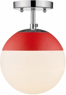 Golden Lighting 3218-SF-CH-RED Dixon Modern Chrome / Red Flush Mount Lighting Fixture