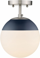 Golden Lighting 3218-SF-PW-MNVY Dixon Contemporary Pewter / Navy Home Ceiling Lighting