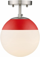 Golden Lighting 3218-SF-PW-RED Dixon Contemporary Pewter / Red Overhead Lighting Fixture