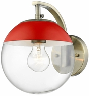 Golden Lighting 3219-1W-AB-RED Dixon Contemporary Aged Brass Wall Lamp