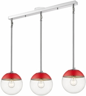 Golden Lighting 3219-3LP-CH-RED Dixon Contemporary Chrome / Red Multi Lighting Pendant