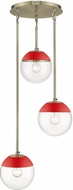 Golden Lighting 3219-3P-AB-RED Dixon Contemporary Aged Brass / Red Multi Drop Lighting