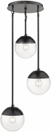 Golden Lighting 3219-3P-BLK-BLK Dixon Contemporary Matte Black Multi Ceiling Light Pendant