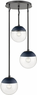 Golden Lighting 3219-3P-BLK-MNVY Dixon Modern Matte Black / Navy Multi Ceiling Pendant Light