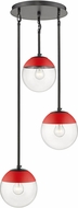 Golden Lighting 3219-3P-BLK-RED Dixon Contemporary Matte Black / Red Multi Drop Ceiling Light Fixture
