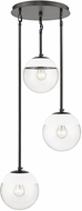 Golden Lighting 3219-3P-BLK-WHT Dixon Modern Matte Black / White Multi Drop Lighting Fixture