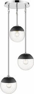 Golden Lighting 3219-3P-CH-BLK Dixon Contemporary Chrome / Black Multi Pendant Lighting