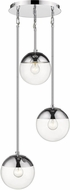 Golden Lighting 3219-3P-CH-CH Dixon Modern Chrome Multi Pendant Light