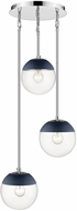 Golden Lighting 3219-3P-CH-MNVY Dixon Contemporary Chrome / Navy Multi Lighting Pendant