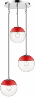 Golden Lighting 3219-3P-CH-RED Dixon Modern Chrome / Red Multi Pendant Lamp