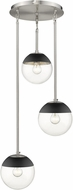 Golden Lighting 3219-3P-PW-BLK Dixon Modern Pewter / Black Multi Hanging Light