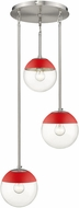 Golden Lighting 3219-3P-PW-RED Dixon Contemporary Pewter / Red Multi Hanging Pendant Lighting