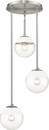 Golden Lighting 3219-3P-PW-WHT Dixon Modern Pewter / White Multi Hanging Pendant Light