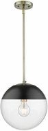Golden Lighting 3219-L-AB-BLK Dixon Modern Aged Brass Drop Ceiling Light Fixture