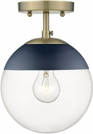 Golden Lighting 3219-SF-AB-MNVY Dixon Contemporary Aged Brass / Navy Ceiling Lighting Fixture