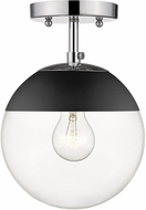 Golden Lighting 3219-SF-CH-BLK Dixon Modern Chrome / Black Flush Ceiling Light Fixture